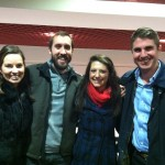 Kelly McLauchlan, Alex Ford, Molly Glasgow, and Anthony Yousefnejad (from left to right), hang out at a Carolina Hurricanes game in Raleigh, NC.