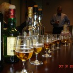 Glasses of scotch at the Calvert Scotch Tasting party.